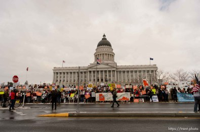 (Trent Nelson | The Salt Lake Tribune) Protesters gather before a visit by President Donald Trump, Monday December 4, 2017.