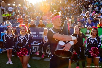 (Trent Nelson | The Salt Lake Tribune) BYU cheerleaders in the final moments of the 7-6 loss as BYU hosts Northern Illinois, NCAA football in Provo, Saturday Oct. 27, 2018.