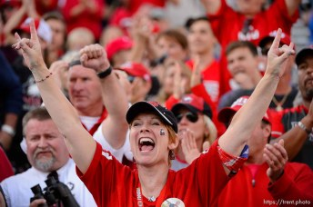 (Trent Nelson | The Salt Lake Tribune) Northern Illinois fans cheer in the fourth quarter as BYU hosts Northern Illinois, NCAA football in Provo, Saturday Oct. 27, 2018.
