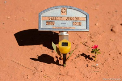 Trent Nelson | The Salt Lake Tribune grave markers for jessop family victims of 2015 flash flood, isaac carling cemetery, Wednesday September 14, 2016. valiant jessop