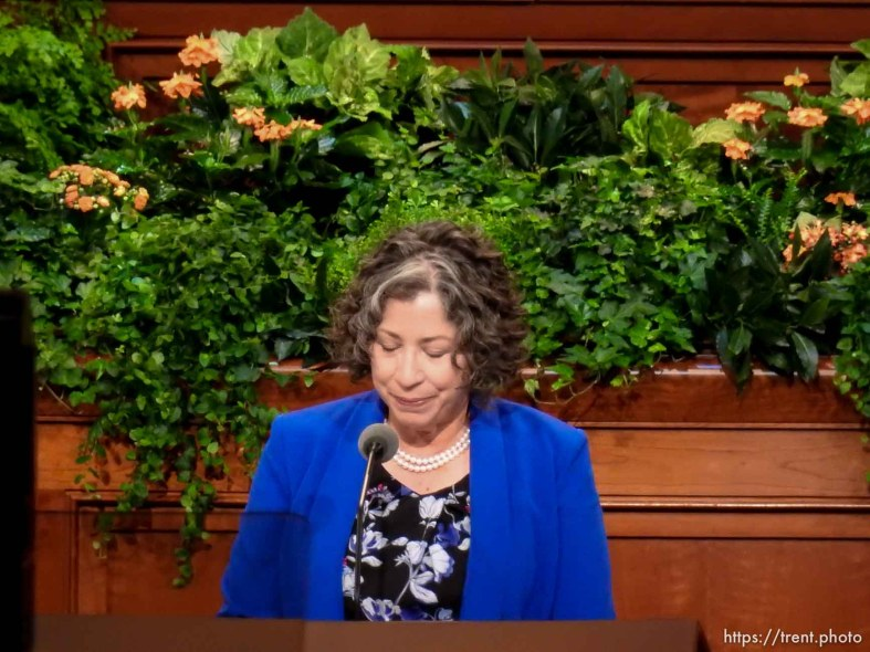 Trent Nelson | The Salt Lake Tribune Denise Lindberg, opening prayer. The general women's session — the first event in LDS General Conference — will have speakers, choirs and a lot of people on Temple Square Saturday September 24, 2016.