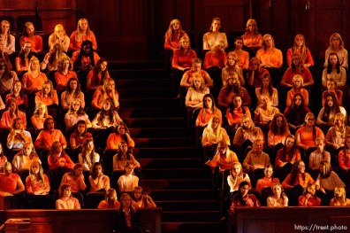 Trent Nelson | The Salt Lake Tribune Youth choir. The general women's session — the first event in LDS General Conference — will have speakers, choirs and a lot of people on Temple Square Saturday September 24, 2016.
