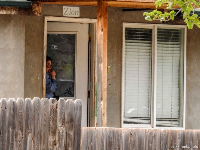 Trent Nelson   The Salt Lake Tribune FLDS children look on as a Colorado City, AZ, home across the street has its locks changed in an eviction by the UEP Trust, Tuesday May 9, 2017.