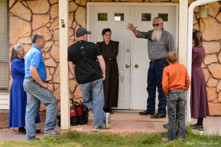Trent Nelson | The Salt Lake Tribune Mohave County Constable Mike Hoggard orders an FLDS woman and her children off the property as he evicts her from her home in Colorado City, AZ, Tuesday May 9, 2017.