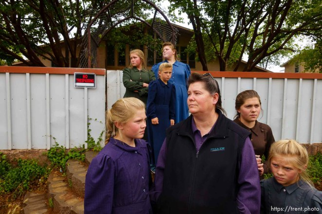 Trent Nelson   The Salt Lake Tribune UEP eviction of property at 345 N Richard St, Colorado City, AZ, Wednesday May 10, 2017. FLDS mother Lydia Bateman with some of her children and grandchildren after being evicted from her home.