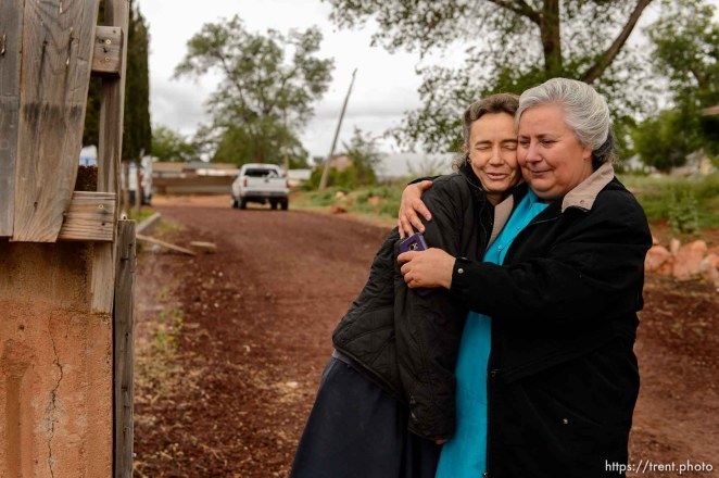Trent Nelson | The Salt Lake Tribune Norma Richter, right, embraces a fellow FLDS member, Liz, who was evicted from her home in Colorado City, Ariz., Wednesday May 10, 2017.