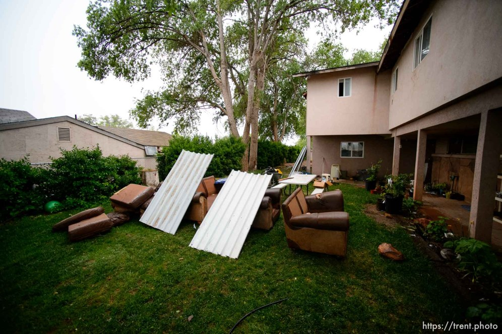 Trent Nelson   The Salt Lake Tribune UEP eviction of property at 555 N Lauritzen Ave, Colorado City, AZ, Wednesday May 10, 2017. belongings in yard, in rain.