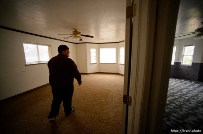 Trent Nelson | The Salt Lake Tribune Marvin Darger walks through what had been his bedroom about an hour before his family would be locked out of the Colorado City, AZ, home, Wednesday May 10, 2017. The UEP Trust took control of many Colorado City properties this week after years of non-cooperation from FLDS families. Religious beliefs of the FLDS prevented them from signing occupancy agreements with the trust. The room on the right was used for a homeschool.