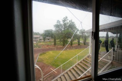 Trent Nelson | The Salt Lake Tribune View out window in home at 555 N Lauritzen Ave, Colorado City, AZ, Wednesday May 10, 2017. UEP evicted this property shortly after photo was taken.
