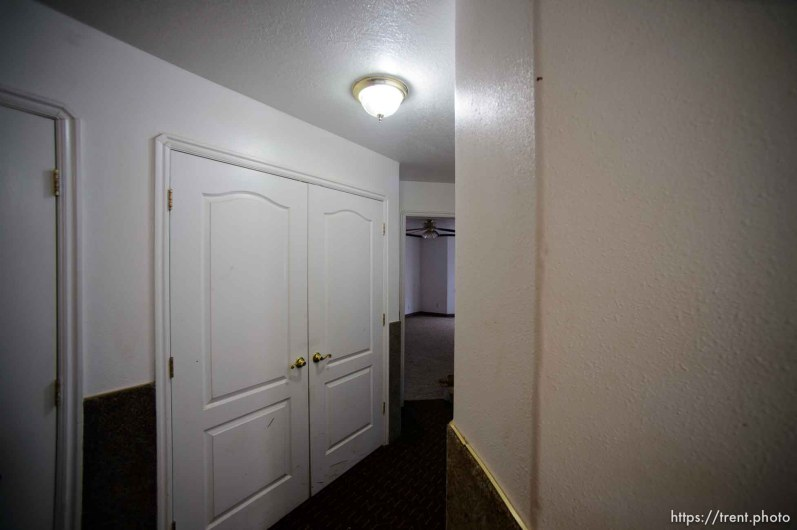 Trent Nelson | The Salt Lake Tribune hallway in home at 555 N Lauritzen Ave, Colorado City, AZ, Wednesday May 10, 2017. UEP evicted this property shortly after photo was taken.