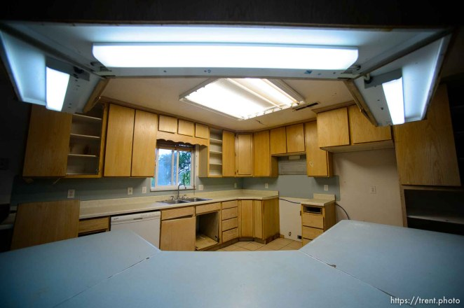 Trent Nelson | The Salt Lake Tribune An empty kitchen in an FLDS home in Colorado City, AZ, Wednesday May 10, 2017. Knowing they were to be evicted by the UEP Trust for being unwilling to sign an occupancy agreement, the family moved out days before.