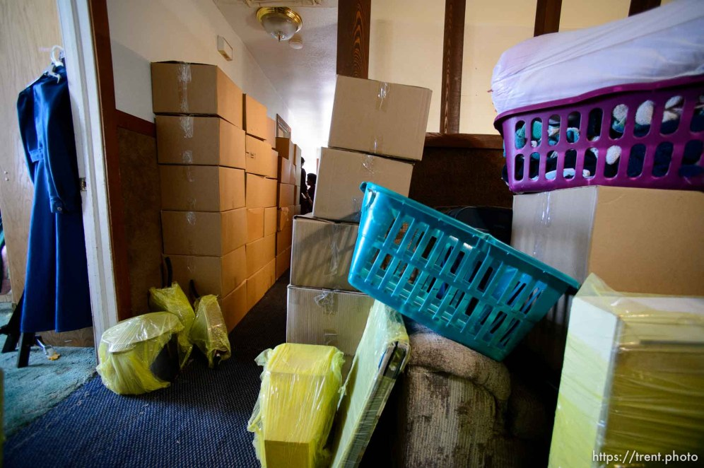 Trent Nelson | The Salt Lake Tribune An FLDS family's belongings are boxed up in preparation for a move after the Hildale home was posted for eviction by the UEP Trust, Thursday May 11, 2017.