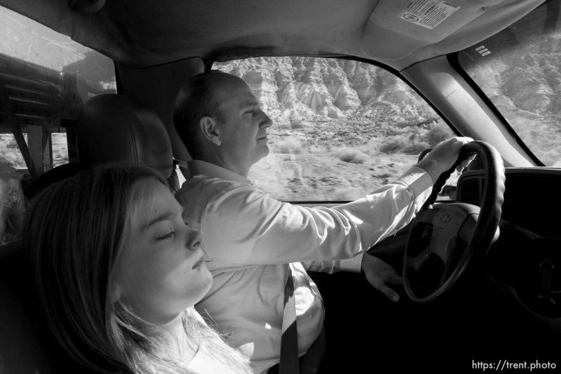 Trent Nelson | The Salt Lake Tribune Gabriel Owen and his daughter Kathrynn on their way to deliver three tons of potatoes to members of the FLDS polygamous sect in Colorado City, Saturday July 15, 2017. Owen and the Davis County Cooperative Society have been offering service and donations to needy FLDS members who were evicted from UEP homes in Hildale and Colorado City, Ariz.