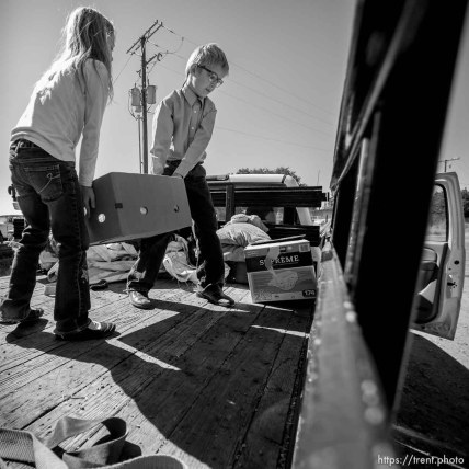 Trent Nelson | The Salt Lake Tribune Kathrynn and Ammon Owen load donations to deliver to needy members of the FLDS polygamous sect in Colorado City, Ariz., Saturday July 15, 2017. Owen and the Davis County Cooperative Society have been offering service and donations to needy FLDS members who were evicted from UEP homes in Hildale and Colorado City, Ariz.
