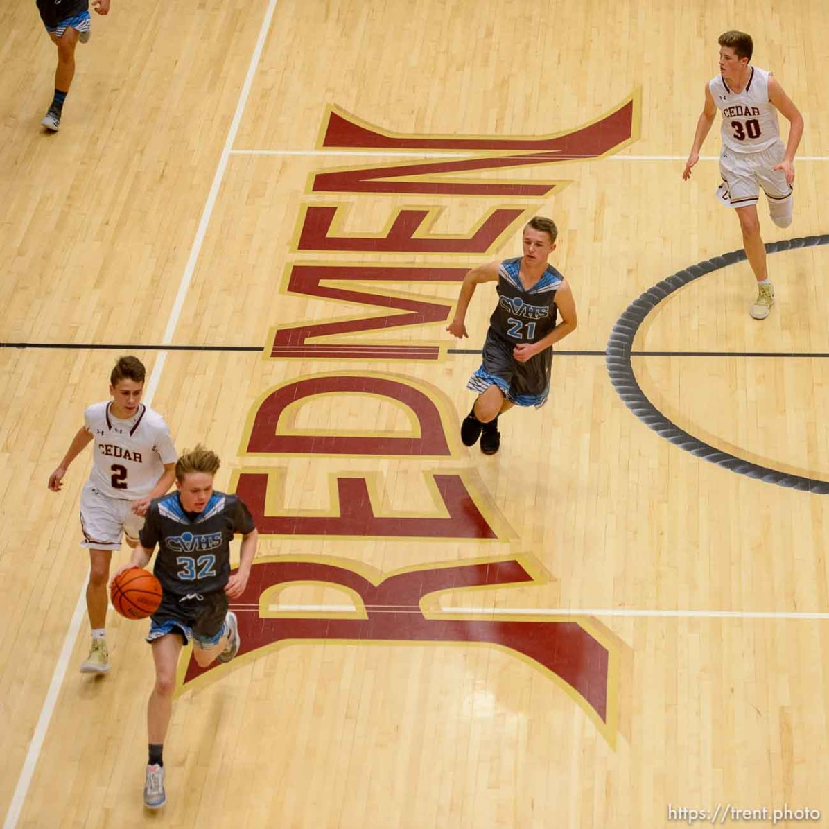 (Trent Nelson | The Salt Lake Tribune) Cedar High School is considering a change in the name of its mascot, The Redmen, Friday Jan. 11, 2019. Cedar hosts Canyon View, JV high school basketball.