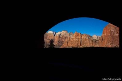 (Trent Nelson | The Salt Lake Tribune) Zion National Park, Saturday Jan. 12, 2019. tunnel