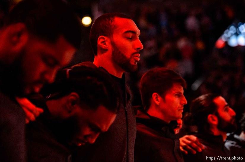 (Trent Nelson | The Salt Lake Tribune) Utah Jazz center Rudy Gobert (27) as the Utah Jazz host the Denver Nuggets, NBA basketball in Salt Lake City on Wednesday Jan. 23, 2019.