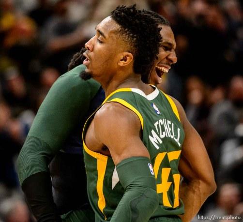 (Trent Nelson | The Salt Lake Tribune) Utah Jazz guard Donovan Mitchell (45) and Utah Jazz forward Jae Crowder (99) celebrate as the Utah Jazz host the Denver Nuggets, NBA basketball in Salt Lake City on Wednesday Jan. 23, 2019.