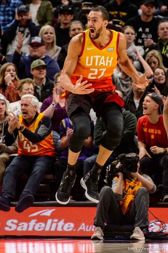 (Trent Nelson | The Salt Lake Tribune) Utah Jazz center Rudy Gobert (27) looks for a call as the Utah Jazz host the San Antonio Spurs, NBA basketball in Salt Lake City on Saturday Feb. 9, 2019.