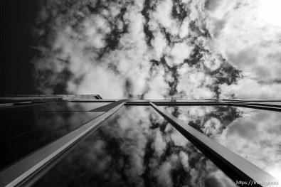 wells fargo building, clouds, in Salt Lake City on Saturday April 13, 2019.