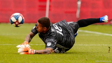 (Trent Nelson | The Salt Lake Tribune) Real Salt Lake goalkeeper Nick Rimando (18) makes a save as Real Salt Lake hosts Toronto FC, MLS Soccer at Rio Tinto Stadium in Sandy on Saturday May 18, 2019.