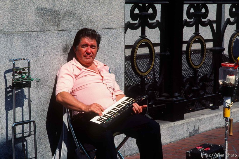 Street musician with keyboard.