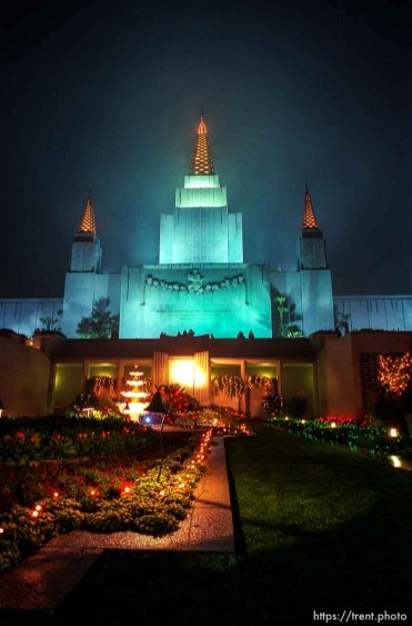 LDS Temple at night.