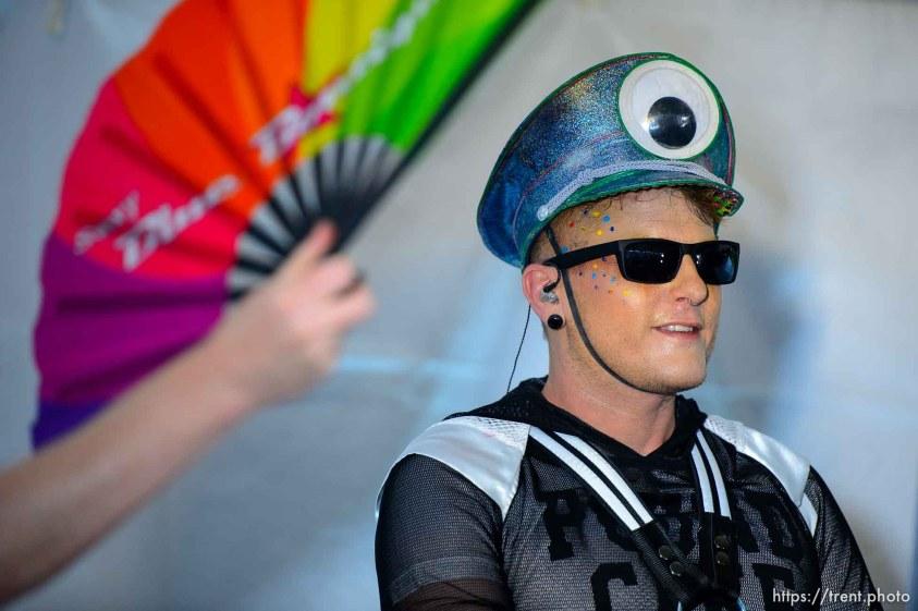 (Trent Nelson   The Salt Lake Tribune) DJ Flame Fatale works up a sweat at the Utah Pride Festival in Salt Lake City on Saturday June 1, 2019.
