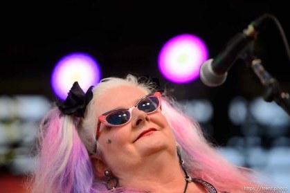(Trent Nelson   The Salt Lake Tribune) Leisl Aetna Bonelli of Orphans Cabaret, performing at the Utah Pride Festival in Salt Lake City on Saturday June 1, 2019.