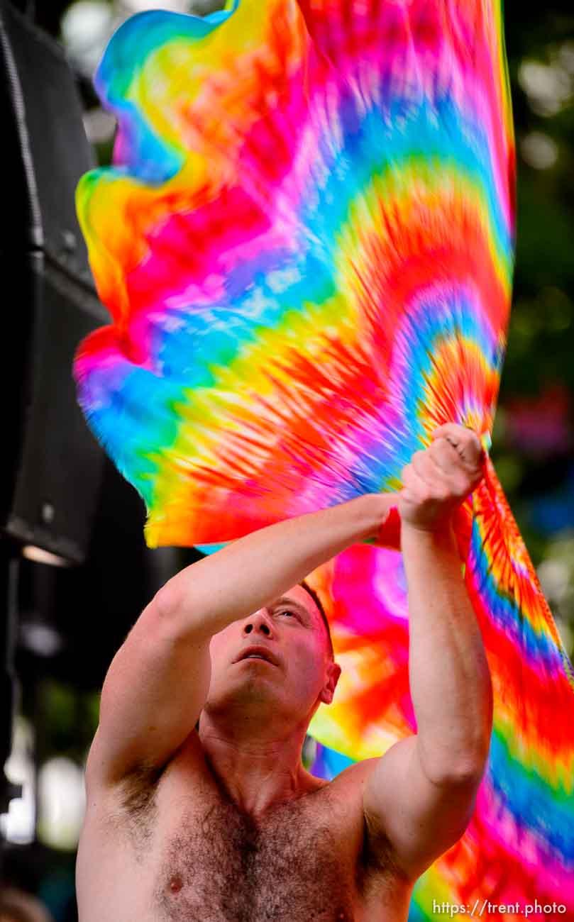(Trent Nelson | The Salt Lake Tribune) Jason Suker dancing at the Utah Pride Festival in Salt Lake City on Saturday June 1, 2019.