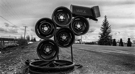 Mailbox made of wheel rims.