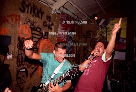 Youth of Today performing at the Gilman Street club, Berkeley, California, August 7, 1987. Singer Ray Cappo at right, guitarist John Porcelly at left.