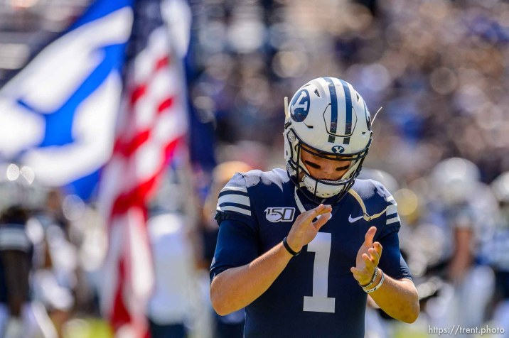 (Trent Nelson | The Salt Lake Tribune) Brigham Young Cougars quarterback Zach Wilson (1) as BYU hosts USC, NCAA football in Provo on Saturday Sept. 14, 2019.