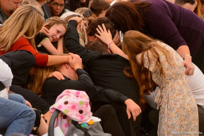 (Trent Nelson | The Salt Lake Tribune) David Langford's family embraces each other during the closing hymn at the funeral for Dawna Langford and two of her children, Trevor and Rogan, in La Mora, Sonora on Thursday Nov. 7, 2019.