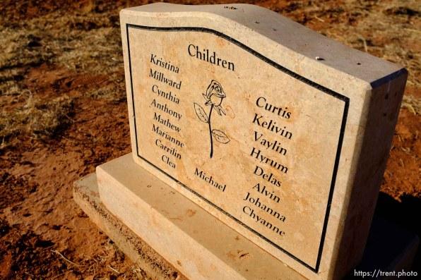 Seventeen children listed, on the marker for Janalin White Jessop