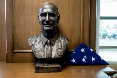 (Trent Nelson | The Salt Lake Tribune) A memorial bust in the lobby of the David P. Romrell Public Safety Building on Sunday Nov. 24, 2019. The building is named after Officer Romrell, who was killed in the line of duty on Nov. 24, 2018 - one year ago.