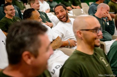 (Trent Nelson | The Salt Lake Tribune) Inmates practice a belly laugh during a motivational talk by Bob Kittell at a meeting of the New Visions Speech Club at the Utah State Prison's Promontory facility in Draper on Tuesday Dec. 3, 2019.