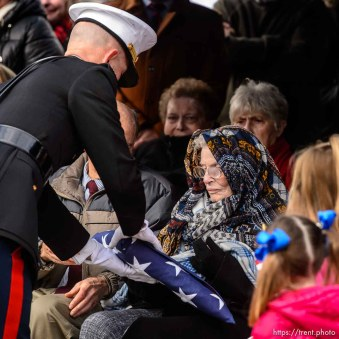 (Trent Nelson | The Salt Lake Tribune) A flag is presented to Charmain Hatch, sister-in-law of Marine Pfc. Robert J. Hatch, at the Bountiful City Cemetery on Saturday Dec. 14, 2019. Hatch was killed in action Nov. 22, 1943 on the island of Betio.