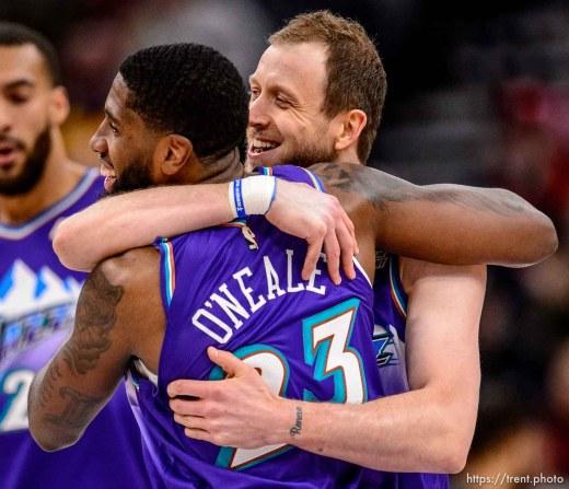 (Trent Nelson   The Salt Lake Tribune) Utah Jazz forward Joe Ingles (2) and Utah Jazz forward Royce O'Neale (23) embrace after an Ingles three-pointer as the Utah Jazz host the Portland Trail Blazers, NBA basketball in Salt Lake City on Thursday, Dec. 26, 2019.