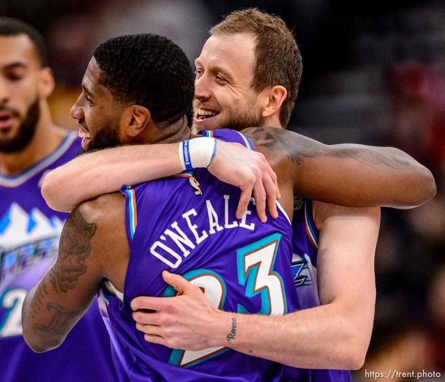 (Trent Nelson | The Salt Lake Tribune) Utah Jazz forward Joe Ingles (2) and Utah Jazz forward Royce O'Neale (23) embrace after an Ingles three-pointer as the Utah Jazz host the Portland Trail Blazers, NBA basketball in Salt Lake City on Thursday, Dec. 26, 2019.