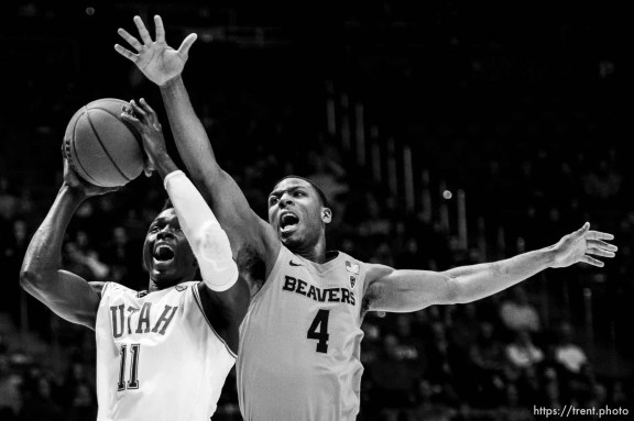(Trent Nelson | The Salt Lake Tribune) Utah Utes guard Both Gach (11), defended by Oregon State Beavers forward Alfred Hollins (4) as the University of Utah hosts Oregon State, NCAA men's basketball in Salt Lake City on Thursday, Jan. 2, 2020.