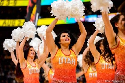 (Trent Nelson | The Salt Lake Tribune) jazz dancers as the Utah Jazz host the Charlotte Hornets, NBA basketball in Salt Lake City on Friday, Jan. 10, 2020.