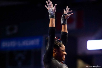 (Trent Nelson | The Salt Lake Tribune) Utah's Cammy Hall on the vault at the Best of Utah NCAA Gymnastics Meet in West Valley City on Saturday, Jan. 11, 2020.