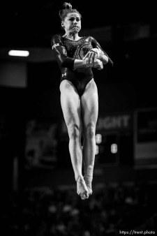 (Trent Nelson | The Salt Lake Tribune) Utah's Missy Reinstadtler on the vault at the Best of Utah NCAA Gymnastics Meet in West Valley City on Saturday, Jan. 11, 2020.