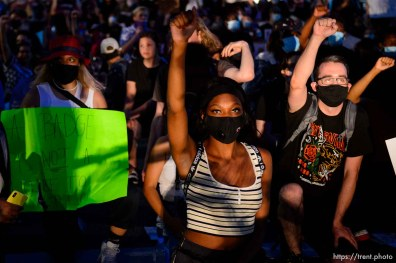(Trent Nelson | The Salt Lake Tribune) Protesters march against police brutality rally in Salt Lake City on Friday, June 5, 2020.