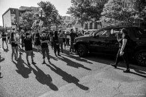 (Trent Nelson | The Salt Lake Tribune) Protesters block traffic at 500 South State Street in Salt Lake City on Thursday, July 9, 2020.