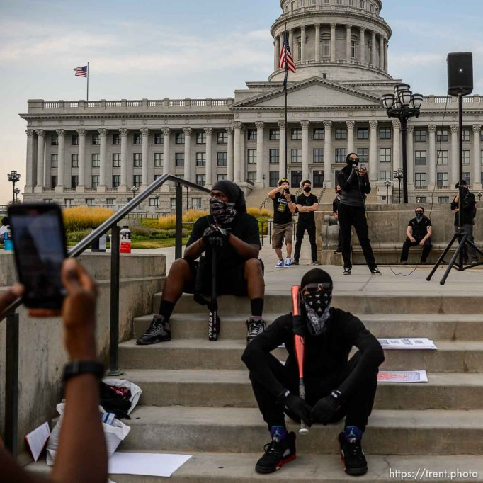 (Trent Nelson | The Salt Lake Tribune) Protesters at the State Capitol in Salt Lake City on Saturday, Aug. 22, 2020.