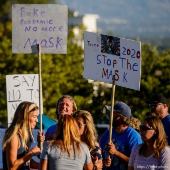 (Trent Nelson | The Salt Lake Tribune) A rally protesting government mask mandates at the State Capitol in Salt Lake City on Saturday, Sept. 5, 2020.