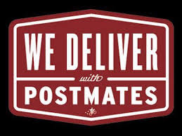 We Deliver with Postmates logo.