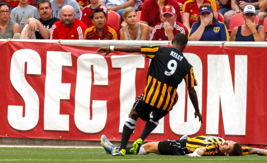 Charleston's Nicki Paterson and Charleston's Dane Kelly celebrate Paterson's goal as Real Salt Lake hosts Charleston Battery in the US Open Cup Wednesday June 12, 2013 at Rio Tinto Stadium in Sandy, Utah